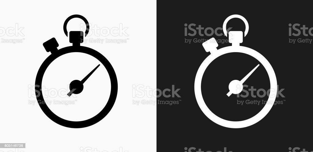 Stopwatch Icon on Black and White Vector Backgrounds royalty-free stopwatch icon on black and white vector backgrounds stock vector art & more images of black and white