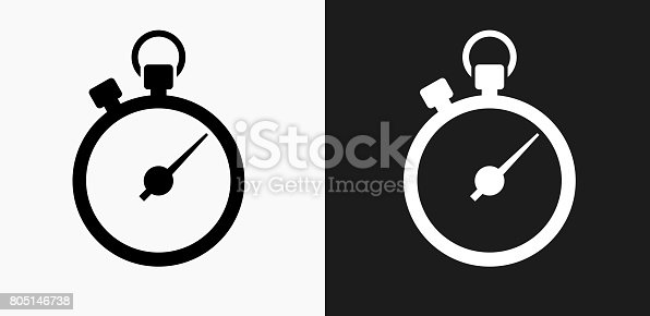 Stopwatch Icon on Black and White Vector Backgrounds. This vector illustration includes two variations of the icon one in black on a light background on the left and another version in white on a dark background positioned on the right. The vector icon is simple yet elegant and can be used in a variety of ways including website or mobile application icon. This royalty free image is 100% vector based and all design elements can be scaled to any size.