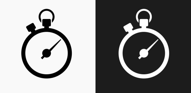 Stopwatch Icon on Black and White Vector Backgrounds vector art illustration