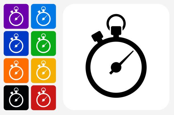 illustrations, cliparts, dessins animés et icônes de jeu de bouton chronomètre icône carré - horlogerie