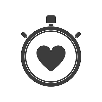 Stopwatch icon with heart on a white background. Illustration