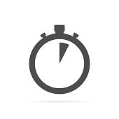 Stopwatch icon with shadow on white background