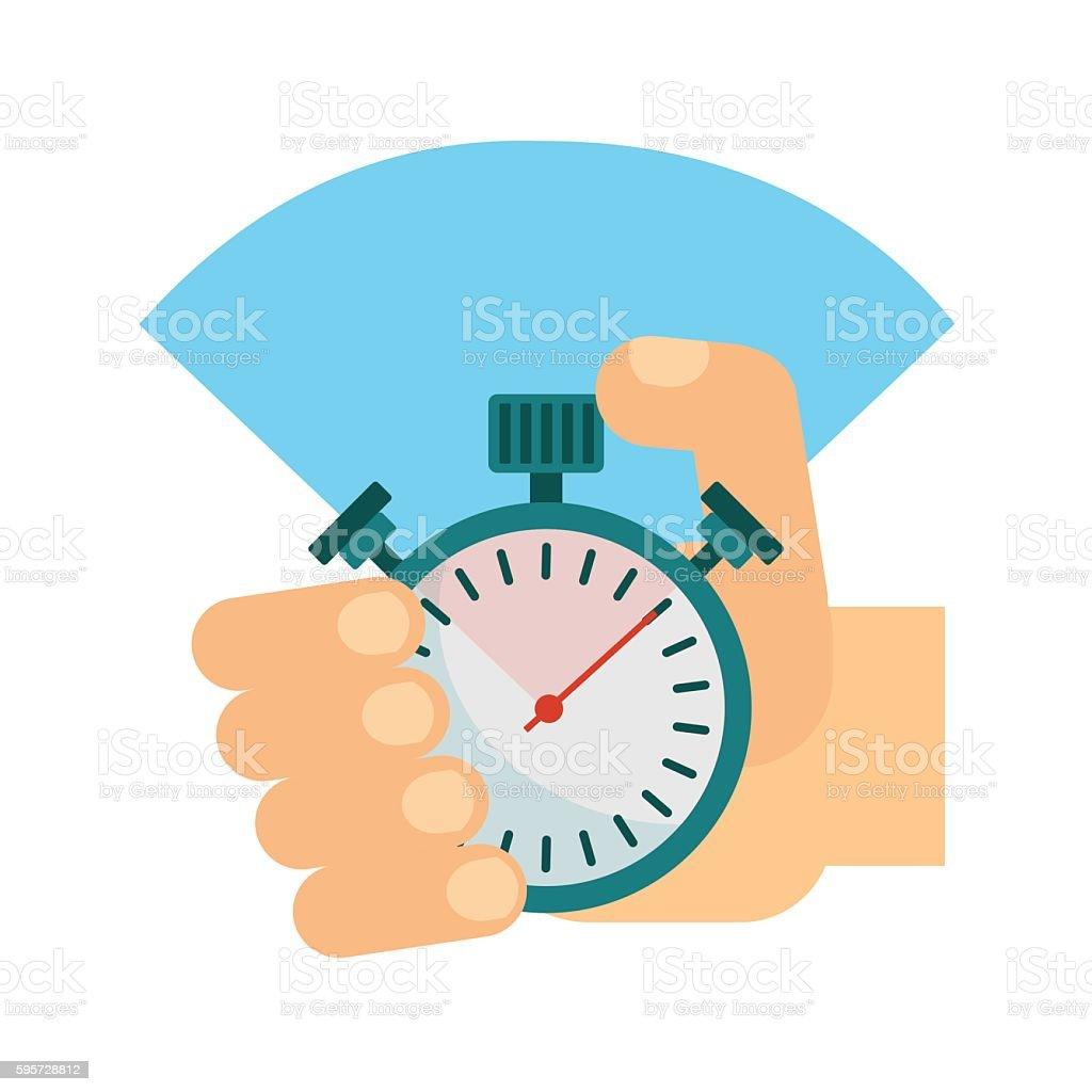 stopwatch in hand vector art illustration