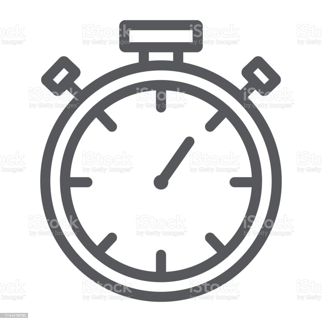 Stopwatch Line Icon Measure And Countdown Timer Sign Vector Graphics