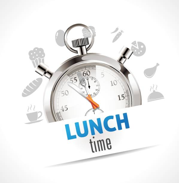 stockillustraties, clipart, cartoons en iconen met stopwatch - lunchtijd - lunch