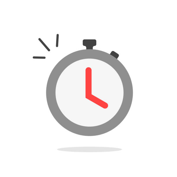 Stopwatch or timer with fast time count down icon vector, flat cartoon color chronometer sign or pictogram isolated clipart vector art illustration