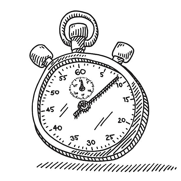 Stopwatch Time Measurement Drawing Hand-drawn vector drawing of a Stopwatch, Time Measurement Concept. Black-and-White sketch on a transparent background (.eps-file). Included files are EPS (v10) and Hi-Res JPG. sport stock illustrations