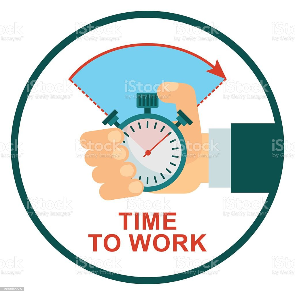 stopwatch time to work vector art illustration