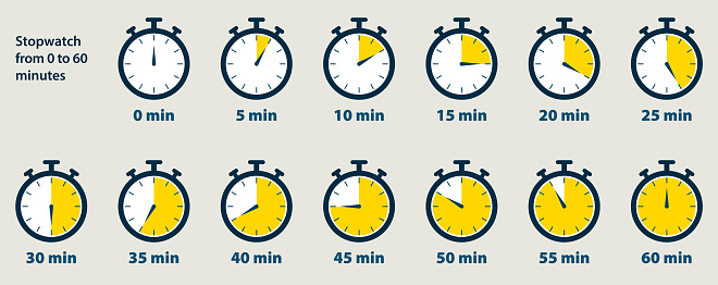 Stopwatch starts from 0 to 60 minutes. Vector graphic design.