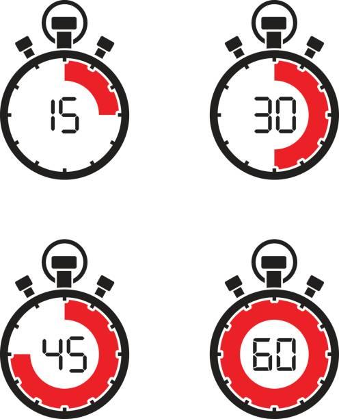 bildbanksillustrationer, clip art samt tecknat material och ikoner med stoppur timer set - nummer 30