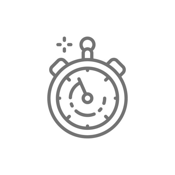ilustrações, clipart, desenhos animados e ícones de cronômetro, temporizador, ícone da linha de relógio. - equipe esportiva
