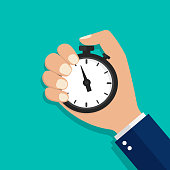 istock Stopwatch, watch or timer in hand. Stop time on competition. Businessman time control concept. Cartoon flat clock for start work, interval control, optimization measure. Countdown stopwatch. vector 1182012376