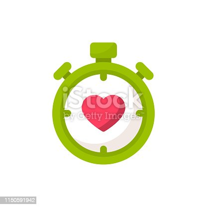 Stopwatch with Heart Flat Icon.