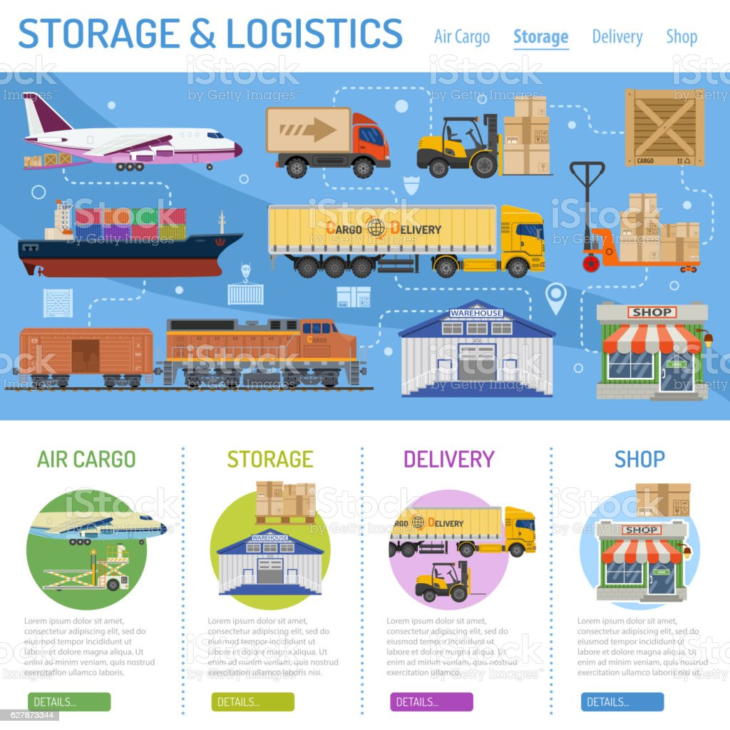 Storage and delivery infographics vector art illustration