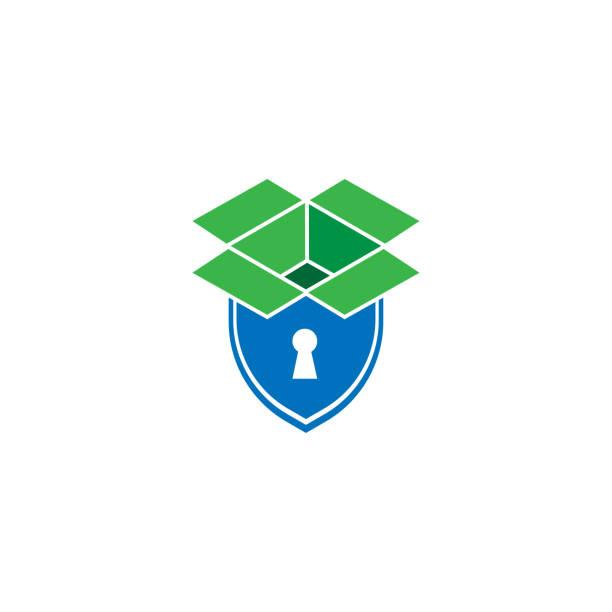illustrazioni stock, clip art, cartoni animati e icone di tendenza di icona o logo di sicurezza della casella di archiviazione in stile line moderno per la progettazione di siti web e app mobili. illustrazione vettoriale su sfondo bianco. - box name
