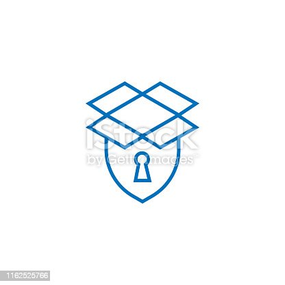 istock Storage box security icon or logo in modern line style for web site design and mobile apps. Vector illustration on a white background. 1162525766