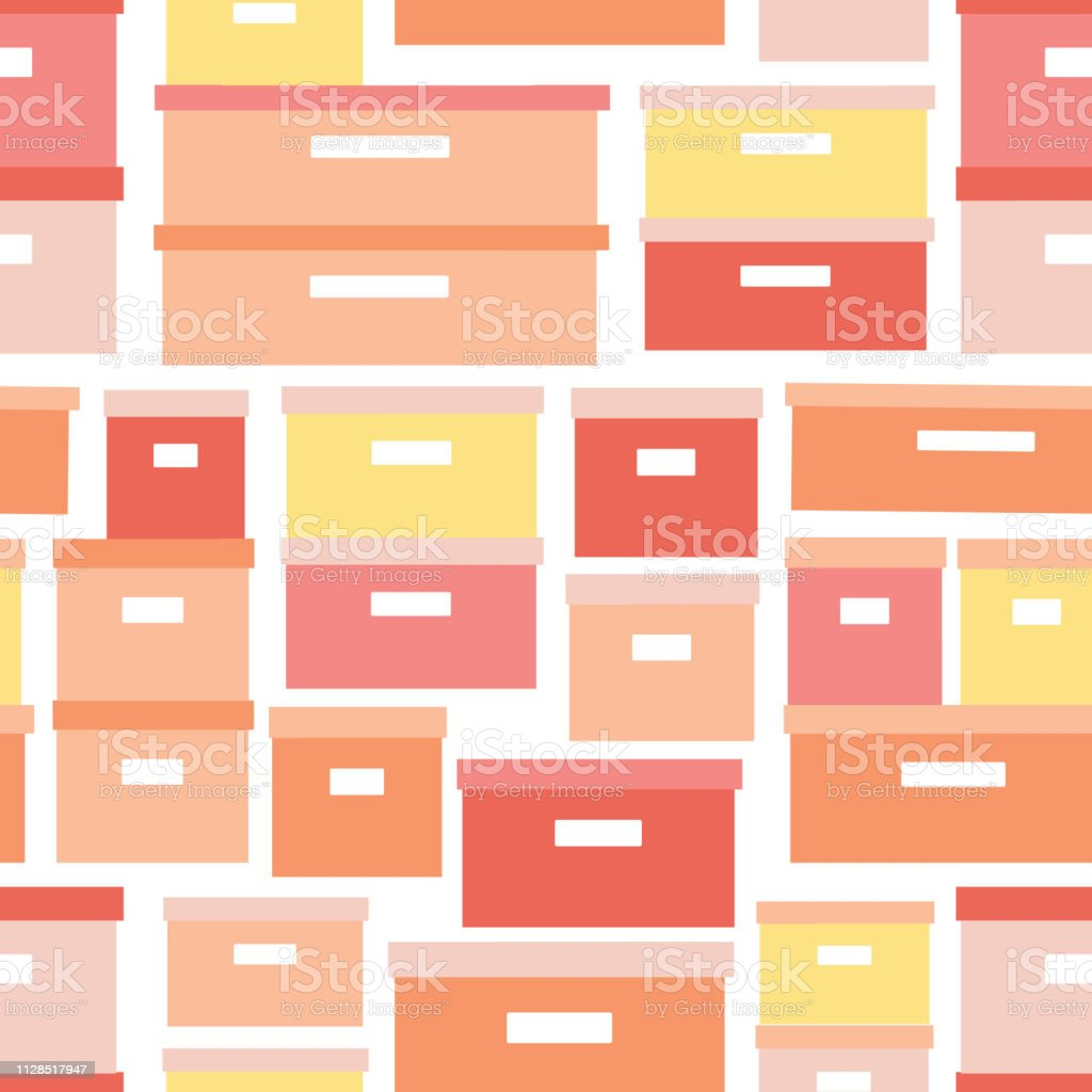 Storage boxes seamless vector pattern. Stacked cardboard storage boxes with closed lid background in coral yellow. Vector illustration closet organization. Tidy up. Declutter and tidying up concept. vector art illustration