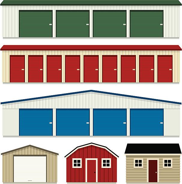 stockillustraties, clipart, cartoons en iconen met storage buildings - opslagruimte