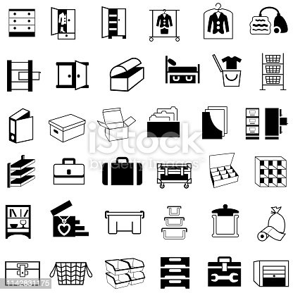 Single color isolated icons of storage containers and housewares.