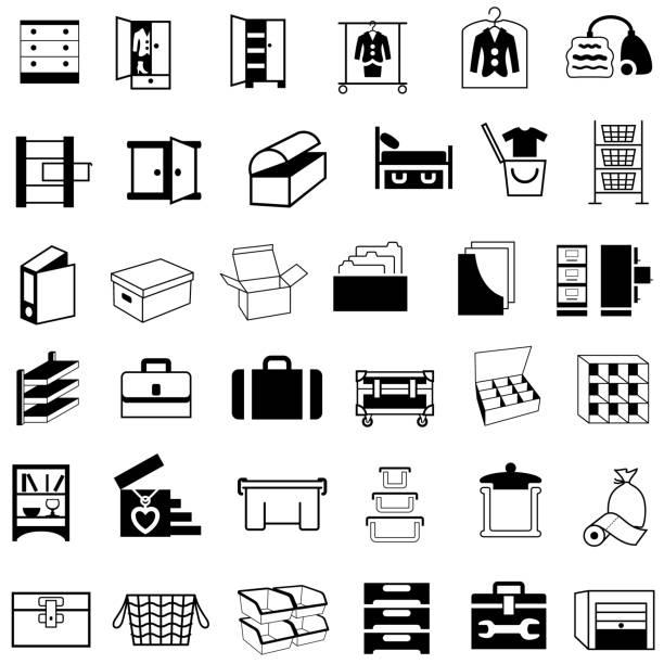 speicherbehälter, boxen und möbel icons - schrankkorb stock-grafiken, -clipart, -cartoons und -symbole