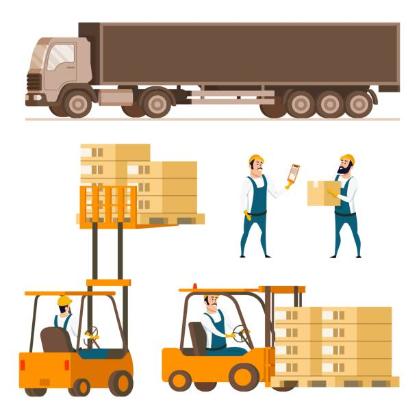 stockillustraties, clipart, cartoons en iconen met opslag levering apparatuur element tekenset - warehouse worker