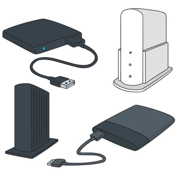 storage device vector set of storage device external hard disk drive stock illustrations