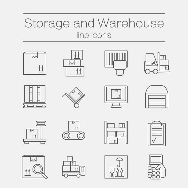 aufbewahrung linie-icons. - kastenständer stock-grafiken, -clipart, -cartoons und -symbole
