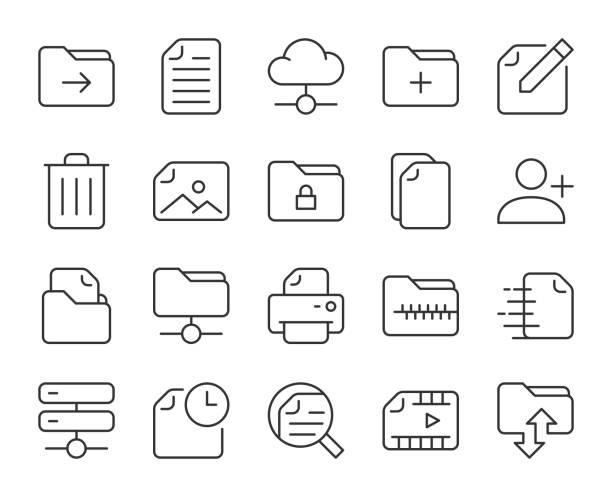 Storage Management - Light Line Icons vector art illustration