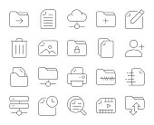istock Storage Management - Thin Line Icons 1153202489