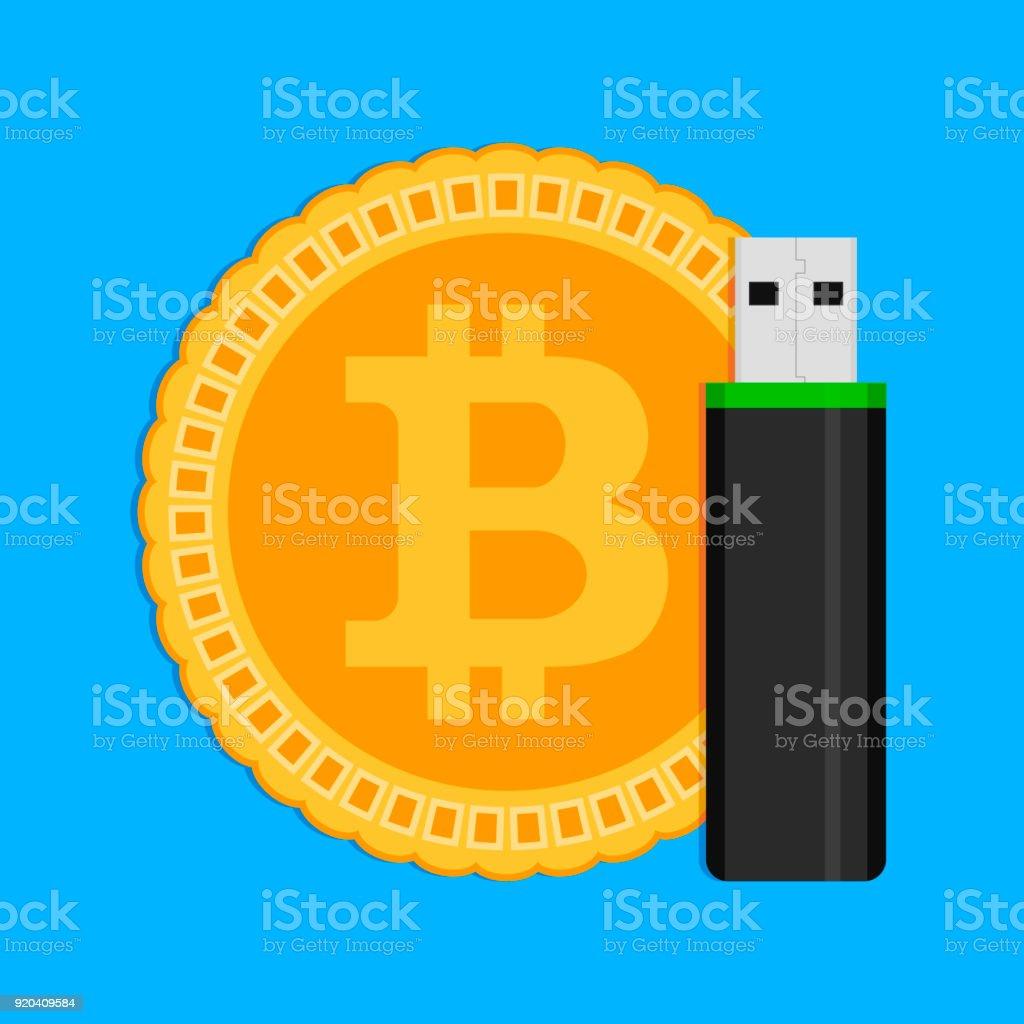 Storage of crypto coins bitcoin vector art illustration