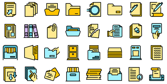 Storage of documents icons set vector flat