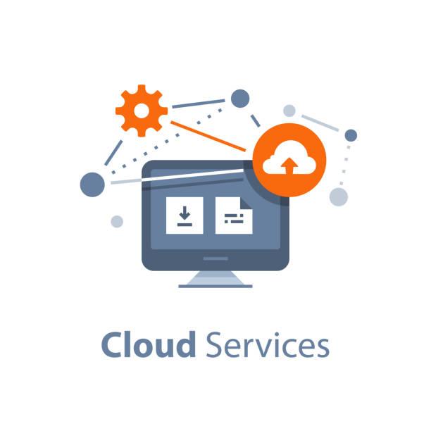 Solução de armazenamento, o conceito de rede on-line de serviços e tecnologia, a troca de dados, nuvem - ilustração de arte em vetor