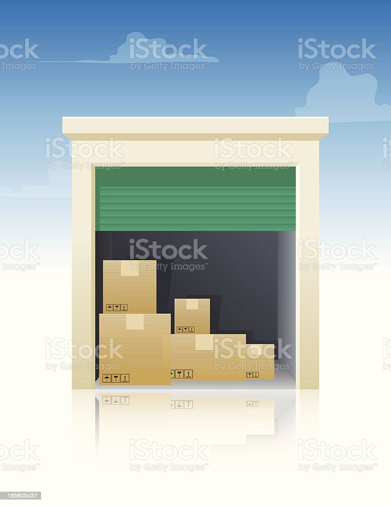 Storage With Boxes vector art illustration