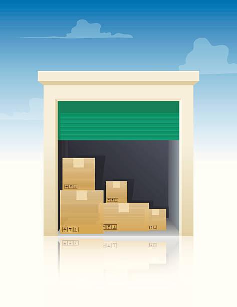 stockillustraties, clipart, cartoons en iconen met storage with boxes - opslagruimte