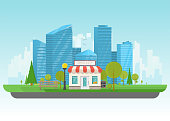 Private store building. Store building near park with trees and big city skyscrapers on background. Flat vector illustration. Tree and bushes with street lamp. Front view of store facade.