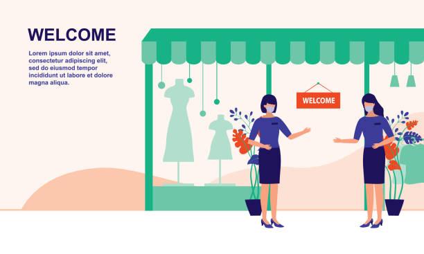 ポストコロナウイルスパンデミックの後、店舗とショップはビジネスのために再開しています。ビジネスのための新しい正常, covid-19 コロナウイルスのアウトブレイクコンセプトの効果.ベク� - マスク 日本人点のイラスト素材/クリップアート素材/マンガ素材/アイコン素材