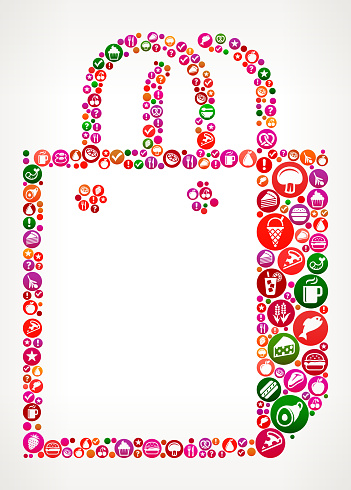 Store Bag Food and Diet Vector Icon Background