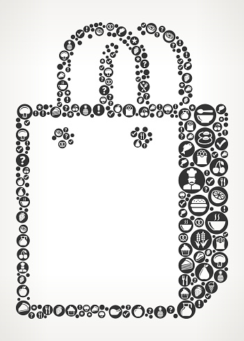 Store Bag Food Black and White Icon Background
