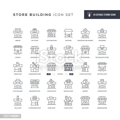 29 Store Building Icons - Editable Stroke - Easy to edit and customize - You can easily customize the stroke with