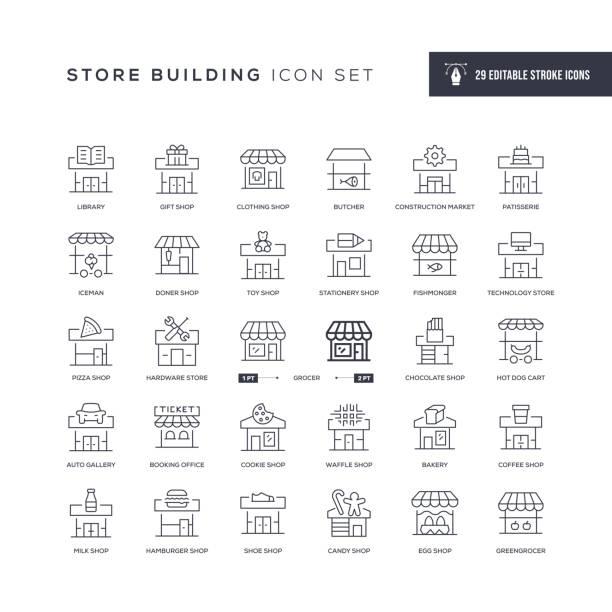 store building editable stroke line icons - döner stock-grafiken, -clipart, -cartoons und -symbole