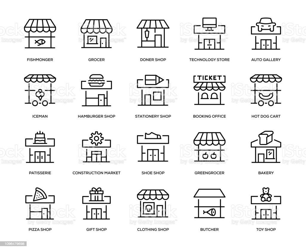 Store Building Icon Set - Royalty-free Arte Linear arte vetorial