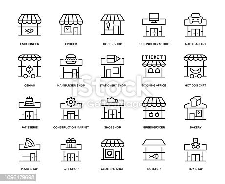 Store Building Icon Set - Thin Line Series