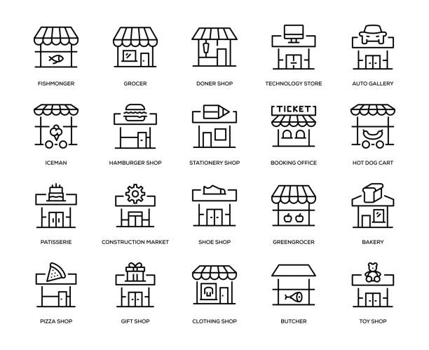 mağaza bina icon set - small business stock illustrations