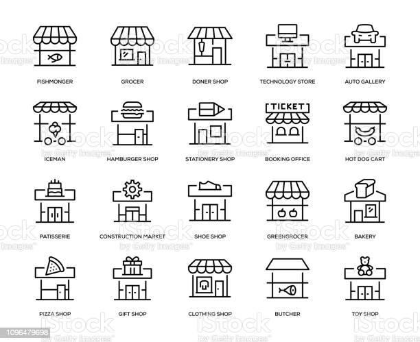 Store Building Icon Set - Arte vetorial de stock e mais imagens de Arte Linear