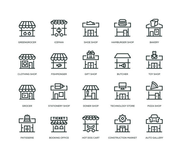 store building icons - line icons - small business stock illustrations