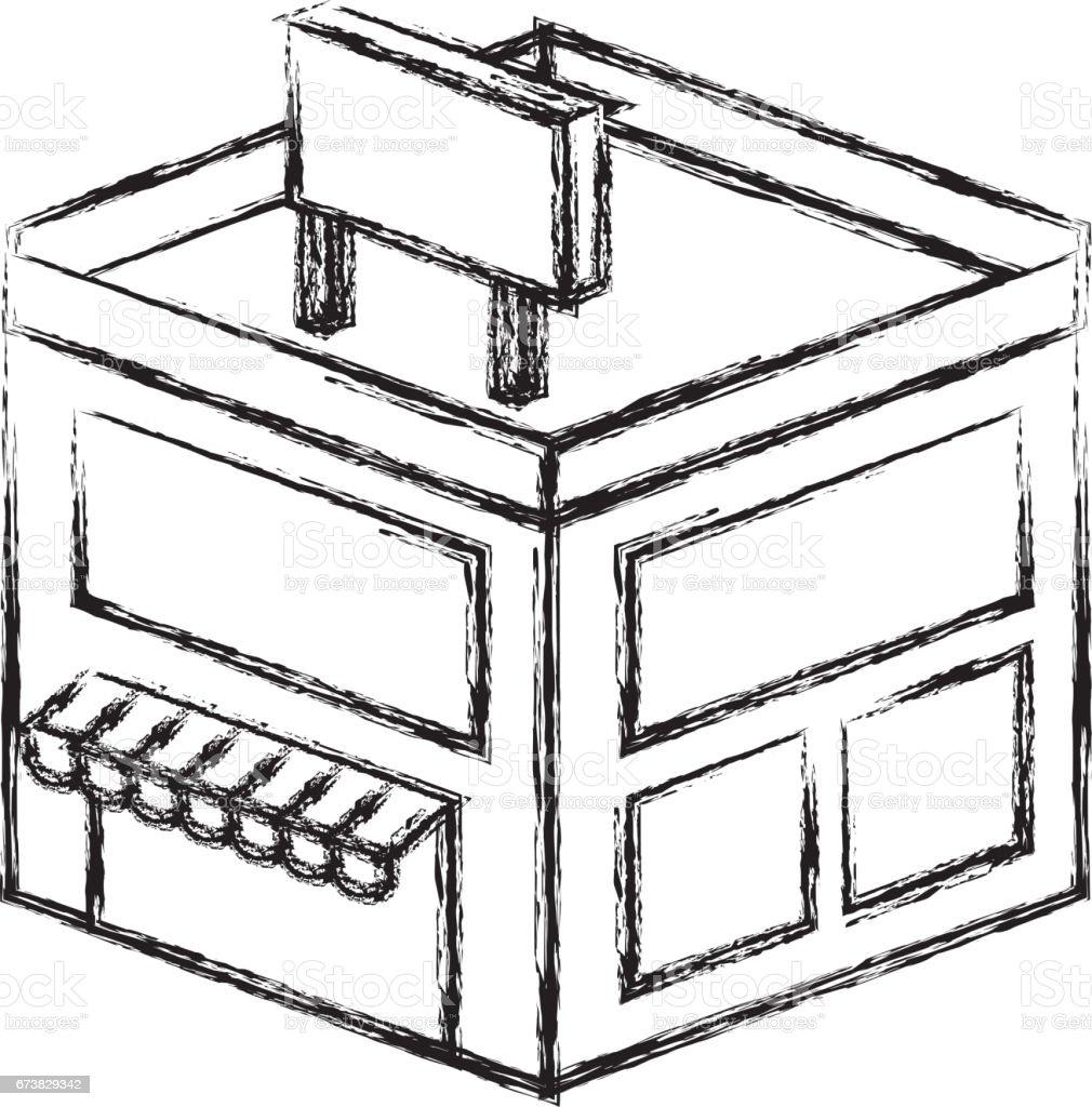 stocker le bâtiment icône isométrique stocker le bâtiment icône isométrique – cliparts vectoriels et plus d'images de affaires finance et industrie libre de droits