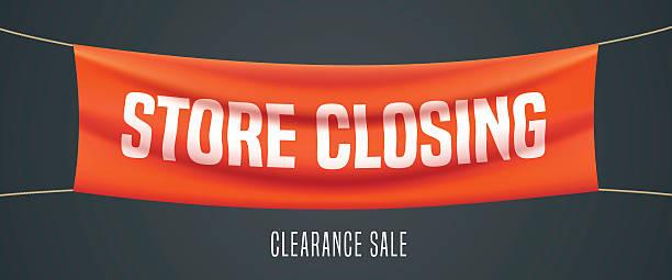 illustrazioni stock, clip art, cartoni animati e icone di tendenza di store closing vector illustration, background - cartello chiuso