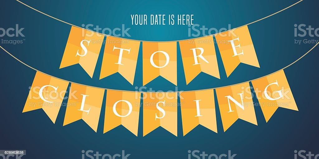 Store Closing Vector Illustration Background With Garland Stock