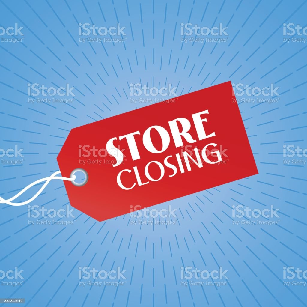 Store closing vector illustration, background with red color price tag vector art illustration