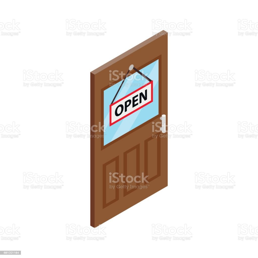Store door icon, isometric 3d style royalty-free store door icon isometric 3d style stock vector art & more images of business
